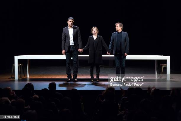 Autor of the Piece Rachid Benzine actors of the Piece Lou de Laage and Charles Berling acknowledge the applause of the audience at the end of the...