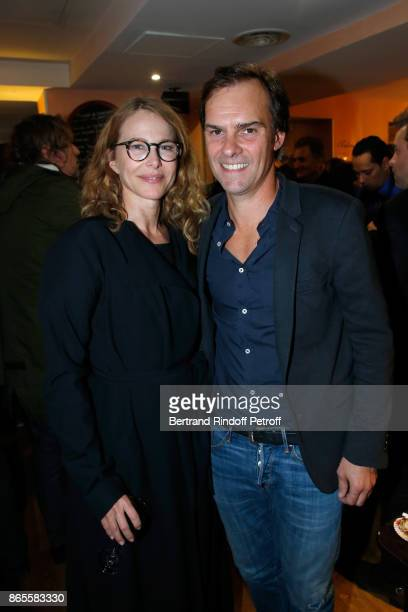 Autor of the piece Sebastien Thiery and his companion Pascale Arbillot attend the Ramses II Theater Play at Theatre des Bouffes Parisiens on October...