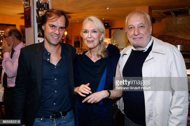 "Autor of the piece, Sebastien Thiery with actors of the piece Evelyne Buyle and Francois Berleand attend the ""Ramses II"" Theater Play at Theatre des..."