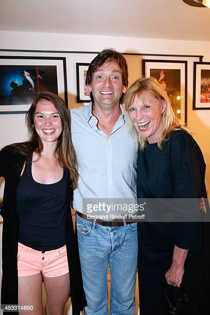 Autor of the play and actor Pierre Palmade actress Chantal Ladesou and her daughter Clemence Ansault pose backstage after Le fils du comique play at...
