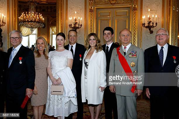 Autor Tom Brokaw Ambassador of USA in France Jane D Hartley Actor Tom Hanks his wife actress Rita Wilson their son Truman Theodore Hanks Tom's...