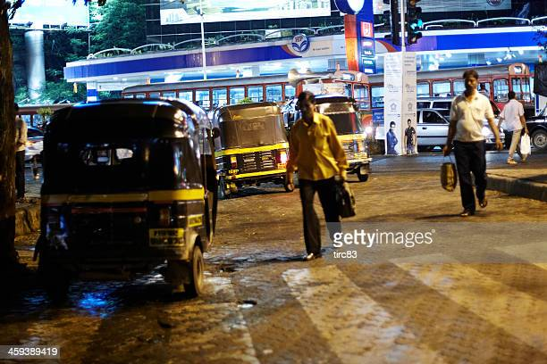 autorickshaws at night in mumbai - auto rickshaw stock pictures, royalty-free photos & images