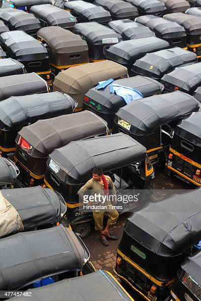 Autorickshaws parked along a road as they went on daylong statewide strike called by the Mumbai AutorickshawTaximen's Union demand ouster of call...