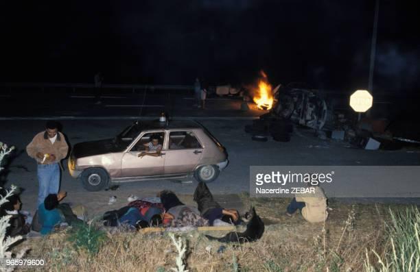 L'autoroute N16 bloquée par de jeunes harkis le 25 juin 1991 à Jouques France