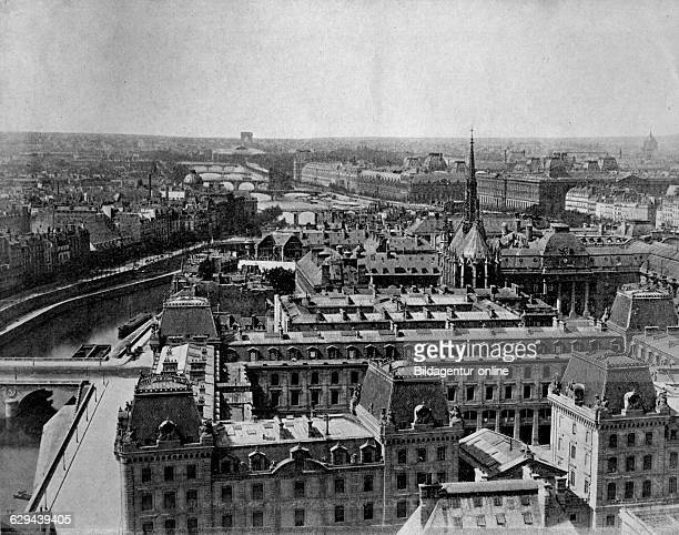 Autotype of the panorama of paris towards la saintechapelle france 1880