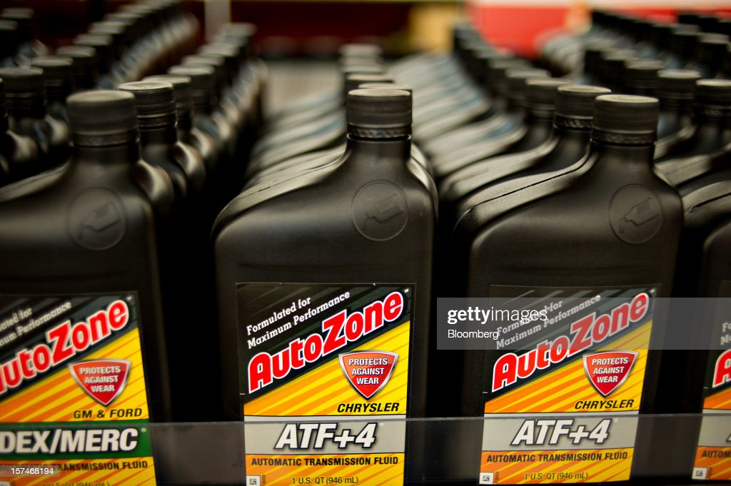AutoZone Inc  brand automatic transmission fluid sits on
