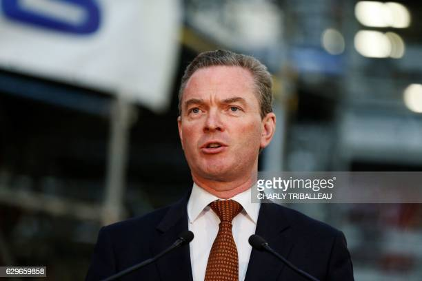 Autralian Minister of Defence and Industry Christopher Pyne delivers a speech during the presentation of the collaboration between Australia and DCNS...