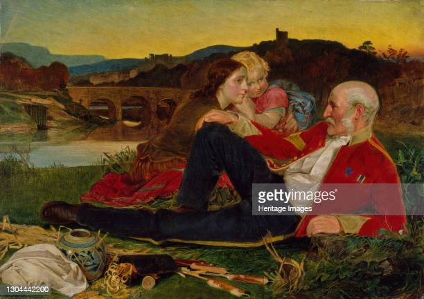 Autumn 1860-1862. An ageing soldier is depicted reclining on a river bank watched attentively by a woman and a child. The three figures appear to...