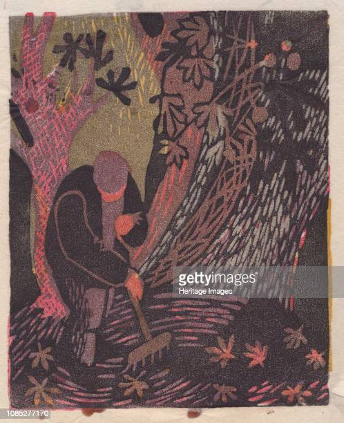 Autumn', 1951. Man raking leaves. Artist Shirley Markham.