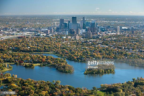 autumn aerial view of minneapolis, minnesota. - minnesota bildbanksfoton och bilder