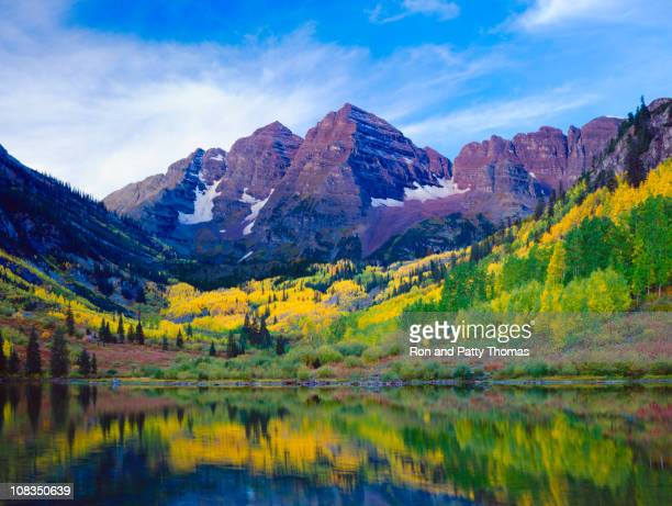 autumn aspen landscape with mountains, trees, and lake view - maroon bells stock photos and pictures