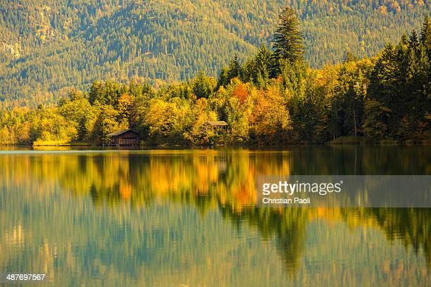 Autumn at Barmsee in Kruen, Upper Bavaria, Bavaria, Germany