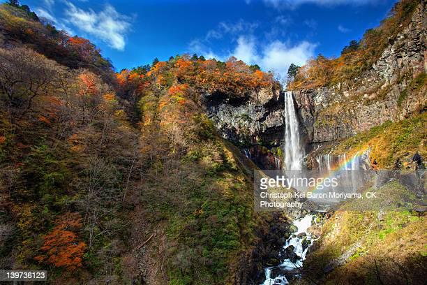 autumn at kegon falls - nikko city stock pictures, royalty-free photos & images