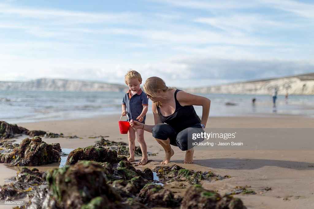 Autumn beach life, Compton bay, isle of wight : Stock Photo