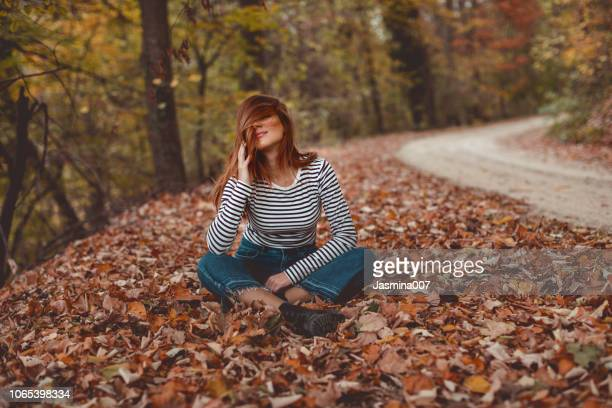 autumn beauty - striped pants stock pictures, royalty-free photos & images