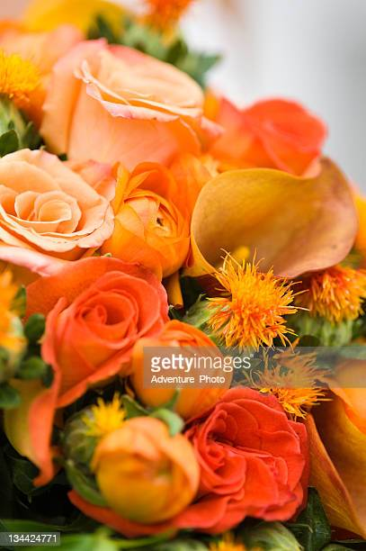 Autumn Bride's Bouquet of Colorful Orange Flowers