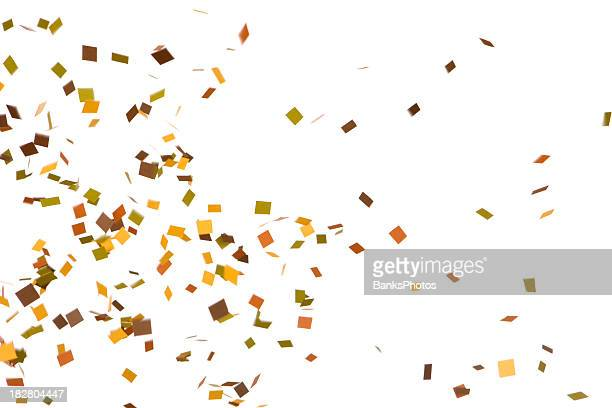 autumn colored confetti falling, isolated on white - confetti stock pictures, royalty-free photos & images