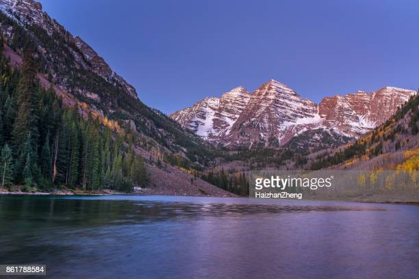 autumn colors at maroon bells and lake - white river national forest stock photos and pictures