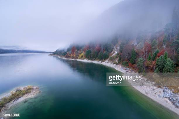 Autumn colors at Sylvenstein Reservoir, Sylvenstein Lake, Lenggries, Bavaria, Germany