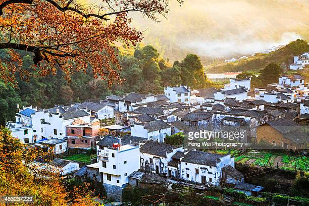 autumn colors, changxi village, wuyuan, jiangxi - jiangxi province stock photos and pictures