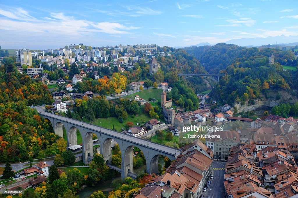 Autumn colors in Fribourg, Switzerland : Stock Photo