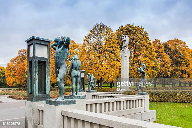 Autumn colors in Gustav Vigeland park  with the bronze sculptures.