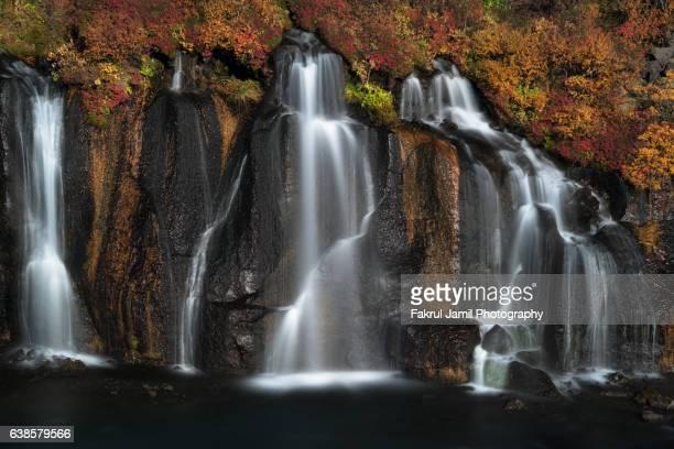 Autumn Colors in Hraunfossar Waterfall, Iceland