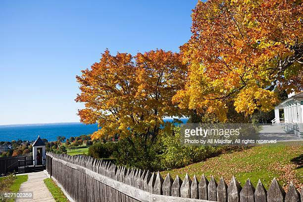 autumn colors - mackinac island stock pictures, royalty-free photos & images