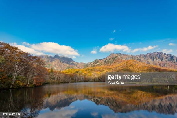 autumn colors reflected in a scenic pond - 長野市 ストックフォトと画像