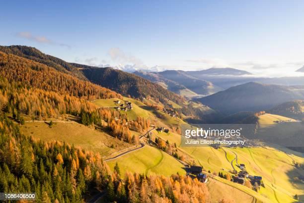 autumn colour in the val dal carga in the dolomites, italy. - alto adige foto e immagini stock