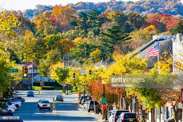 autumn colours along high street in picturesque new jersey borough - boulder county stock pictures, royalty-free photos & images