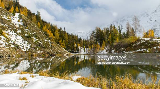 Autumn colours and fresh snow in Lötschental one of the most beautiful Valais valleys