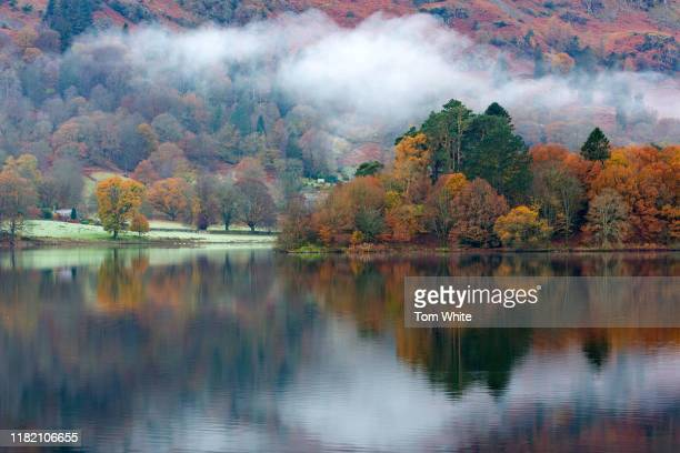 Autumn colours are reflected in Grasmere in the Lake District on November 13 2019 in Ambleside England Temperatures continue to drop across the UK...
