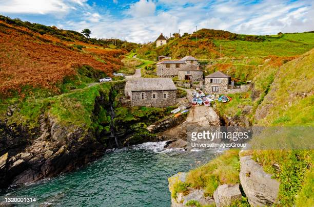 Autumn colours at the remote and secluded church cove on the lizard peninsular in cornwall england.