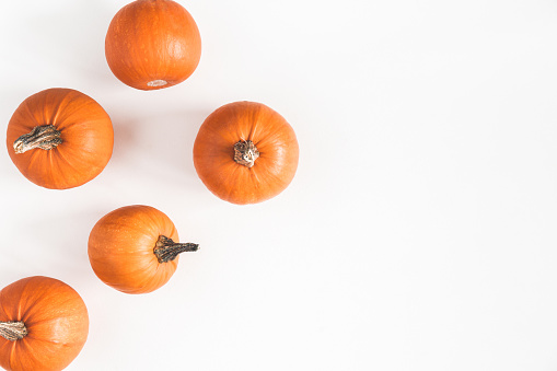 Autumn composition. Pumpkins on white background. Autumn, fall, halloween concept. Flat lay, top view, copy space 1033889966