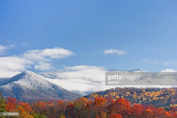 autumn day with snowfall on the mountains - newfound gap stock photos and pictures