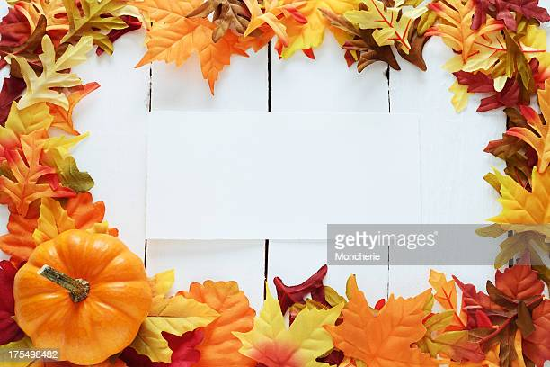 Autumn decoration on white with an empty card