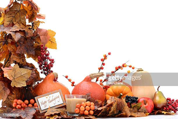 Autumn decoration on white with greeting card