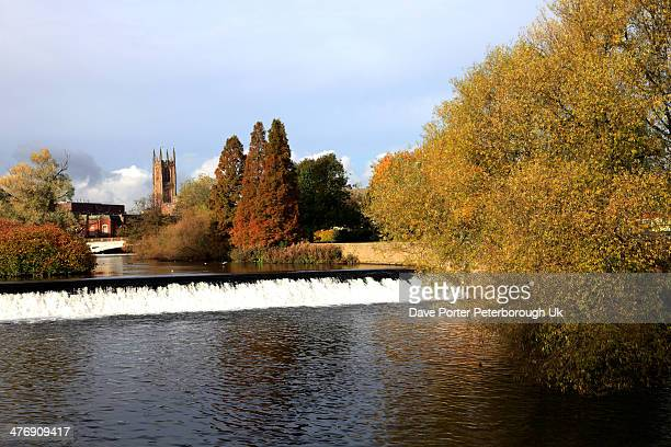 Autumn, Derby Cathedral river Derwent, Derby