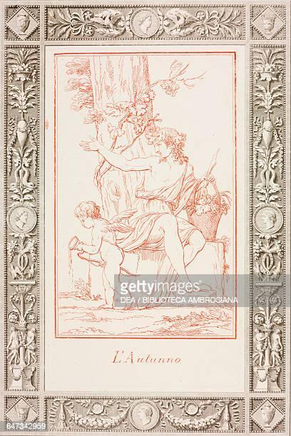 Autumn engraving by Jose Teixeira Barreto in Poetic and Pictorial Jokes by Giovanni Gherardo de Rossi 1795