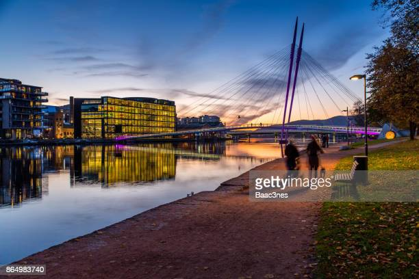 Autumn evening in Drammen city, Norway