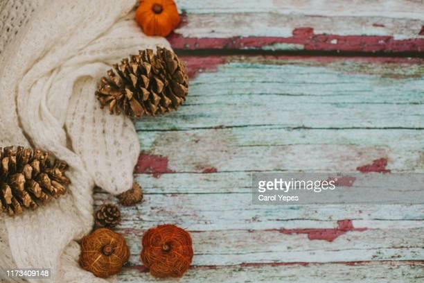 autumn, fall workspace composition. notebook mock-up scene. cup of coffee, wool blanket, - jersey top fotografías e imágenes de stock