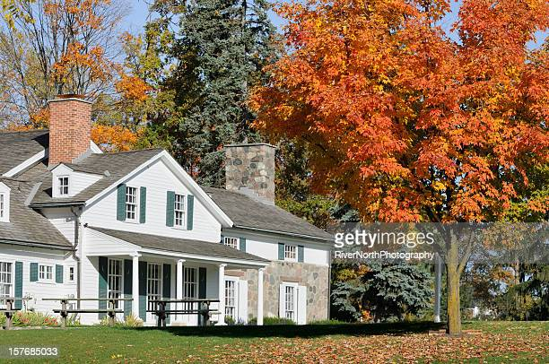 autumn farm - farmhouse stock pictures, royalty-free photos & images