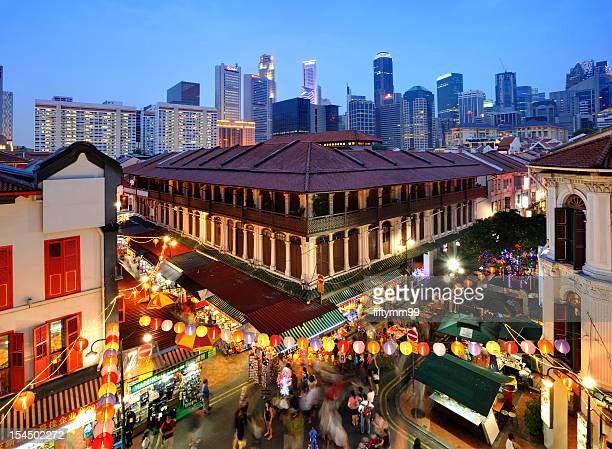 autumn festival lights - chinatown stock photos and pictures