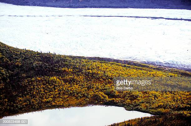 Autumn foliage and lake at Kennicott and Root Glaciers