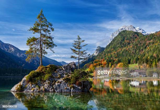 autumn forest reflected in calm lake. hintersee lake in berchtesgaden park, germany. - berchtesgaden stock pictures, royalty-free photos & images