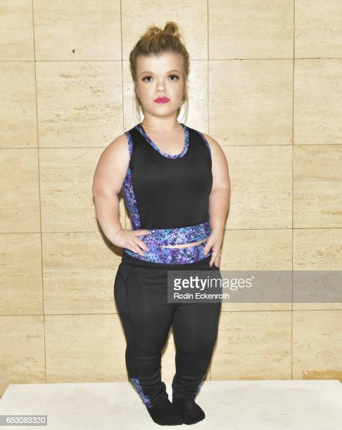 """Autumn Gibel models fashion line at debut of Tonya Renee Banks' """"Lil Boss Body"""" at Fathom on March 13, 2017 in Los Angeles, California."""