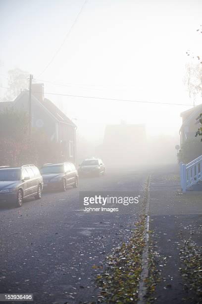 Autumn haze in residential district