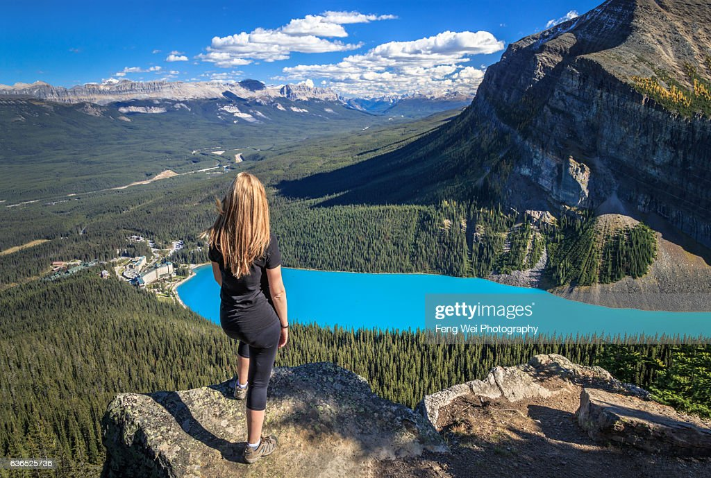 Autumn Hike In Rocky Mountains, Little Beehive, Lake Louise, Banff National Park, Alberta, Canada : Stock Photo