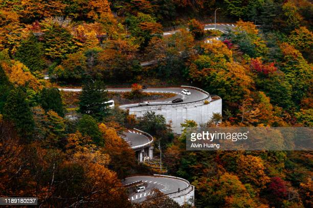 autumn hill scenery of dramatic colour changing foliage and winding road in nikko national park , tochigi prefecture, japan - nikko city stock pictures, royalty-free photos & images